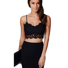 Women sleeveless lace top femme vest bustier black bustiercrop top lace sexy colete European style cropped halter top