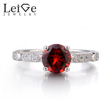 Leige Jewelry Natural Garnet Round Cut Ring 925 Sterling Sliver Engagement Promise Rings For Woman January Birthstone