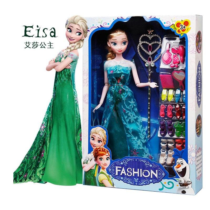 Original Box High Quality Anna And Elsa Dolls Boneca 29cm Elsa Doll  Fever 2 Princess Clothes For Dolls Figures Girls Toys Child
