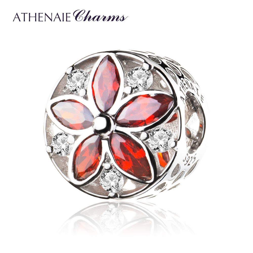 ATHENAIE 925 Sterling Silver Pave Clear CZ Red & Pink CZ Dazzling Floral Bead Charms Color RedATHENAIE 925 Sterling Silver Pave Clear CZ Red & Pink CZ Dazzling Floral Bead Charms Color Red