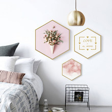 No frame Modern Green Plant Pink Flower Canvas Painting Hexagon Poster And Print Wall Picture For Living Room Girls Home Decor(China)
