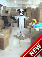 2017 New Hot Sale Black And White Dog Mascot Costume Adult Size Halloween Outfit Fancy Dress Suit Free Shipping