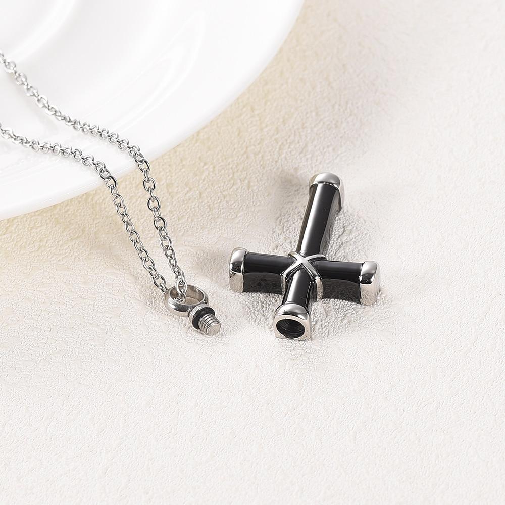 LKJ003 Top Quality Black Cross Cremation Necklace Hold Loved Ones' Ashes Funeral Urn Casket - Custom Name/ Date Engravable 3