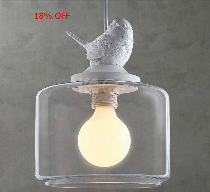 Modern Little Bird Glass Pendant Light Bar Vntage American Rustic Lamp Dining Room Decor Lighting D200*360MM E27 110-240V