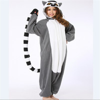 Adult Pajamas All In One Pyjama Animal Suits Women Winter Homewear Cute Cartoon Madagascar Ring Tailed