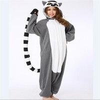 Adult Pajamas All In One Pyjama Animal Suits Women Winter Homewear Cute Cartoon Madagascar Ring Tailed