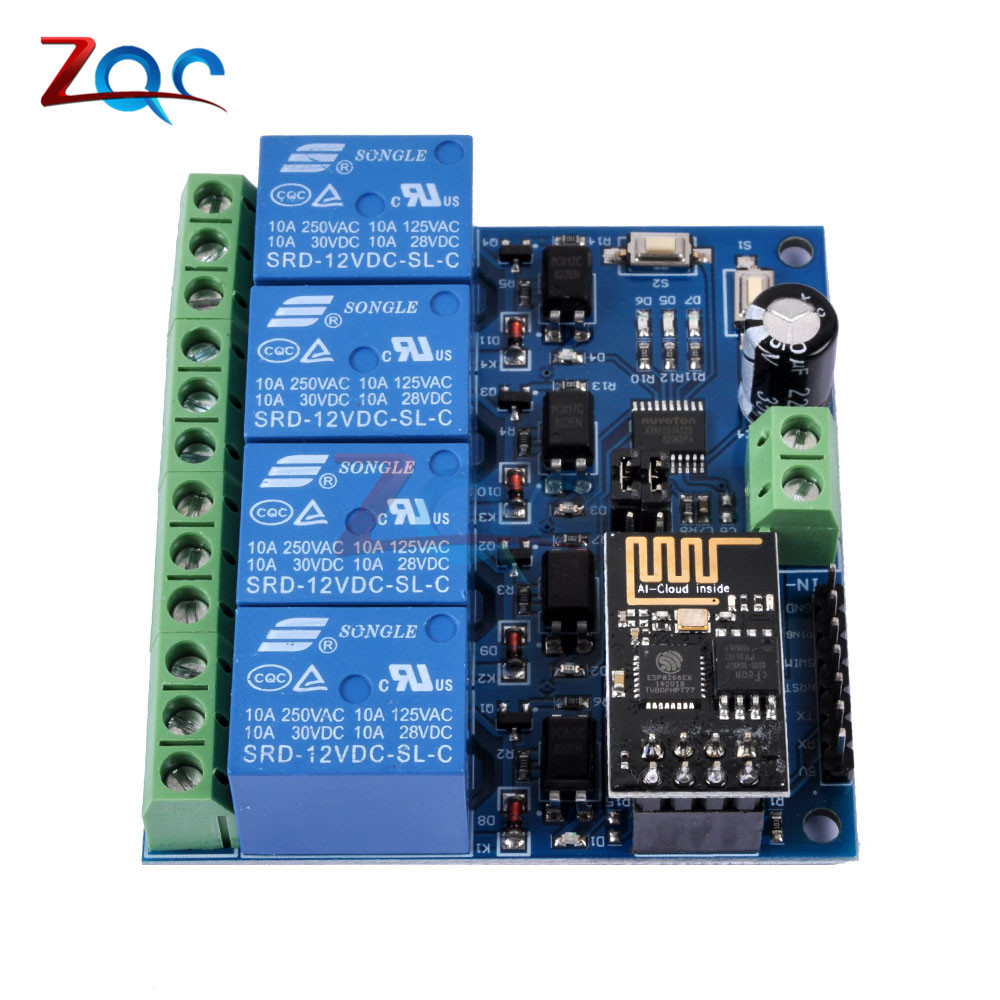 DC 12V ESP8266 ESP-01 4 Channel WiFi Relay Module 4-Channel Relay Module  For IOT Smart Home Phone APP Controller