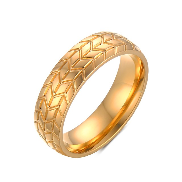 GOLDAYS 6MM Classic Stainless Steel Tire Tread Rings For Men Gold Color Wedding Band Car