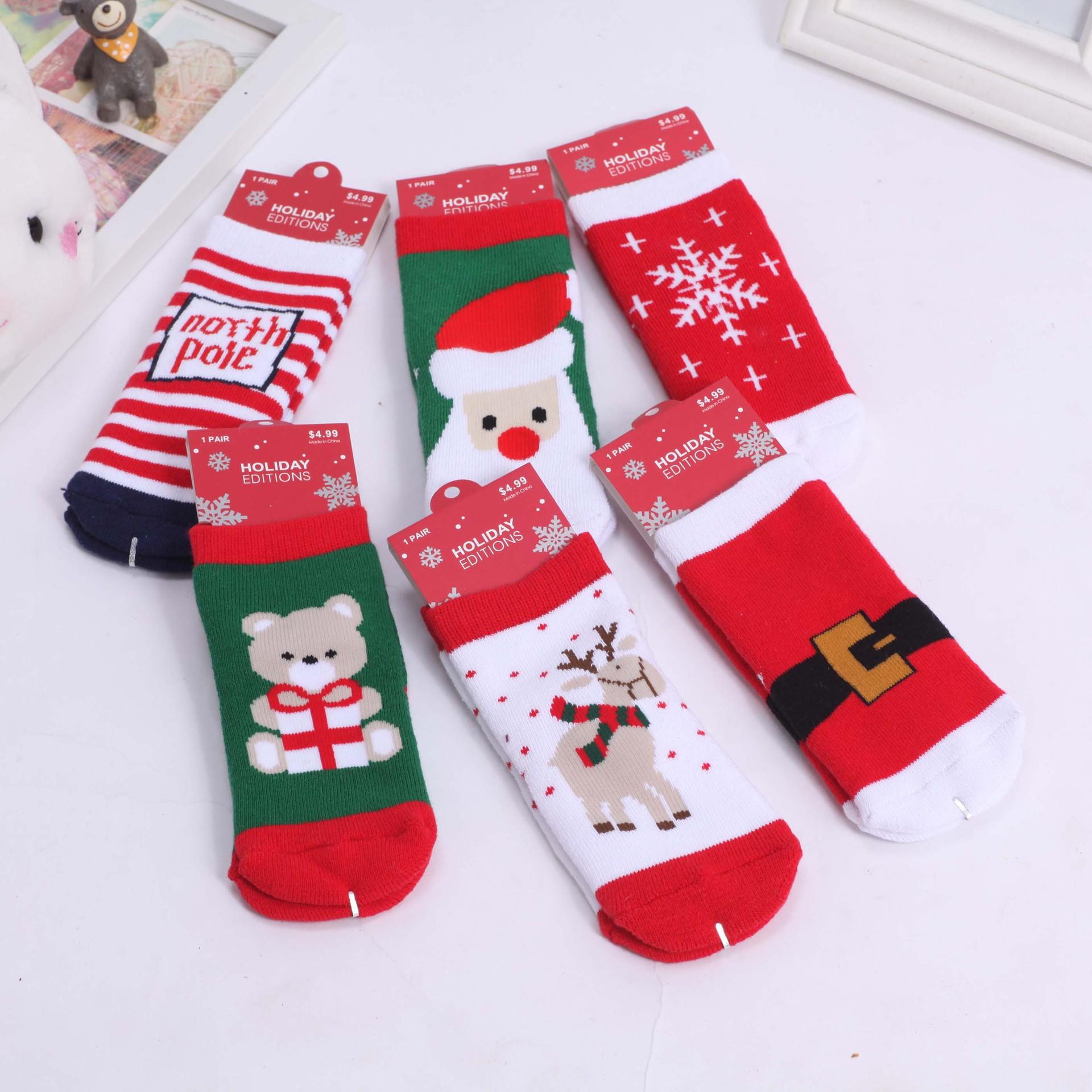 Children socks christmas ts stocks tube baby flat cotton socks