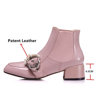 Image 3 - FEDONAS 1Fashion Women Ankle Boots Autumn Winter Warm Patent Leather High Heels Shoes Woman Pearl Buckle Decoration Basic Boots
