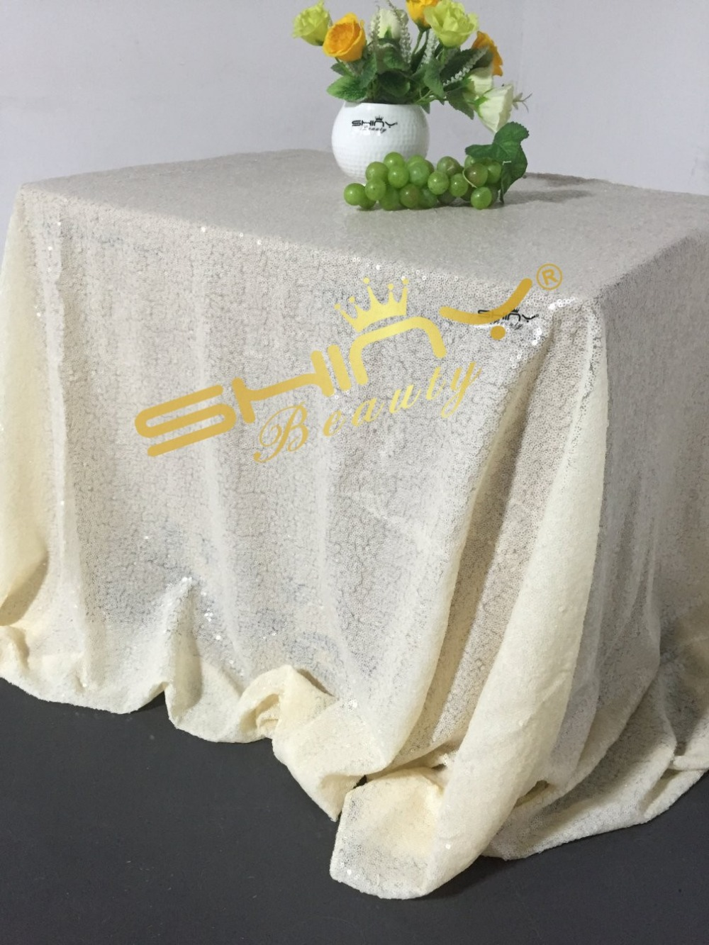 ShinyBeauty Popular Ivory Sequin tablecloth On sale! Sequin Shimmer Tablecloth 60x102 RECTANGULAR-a