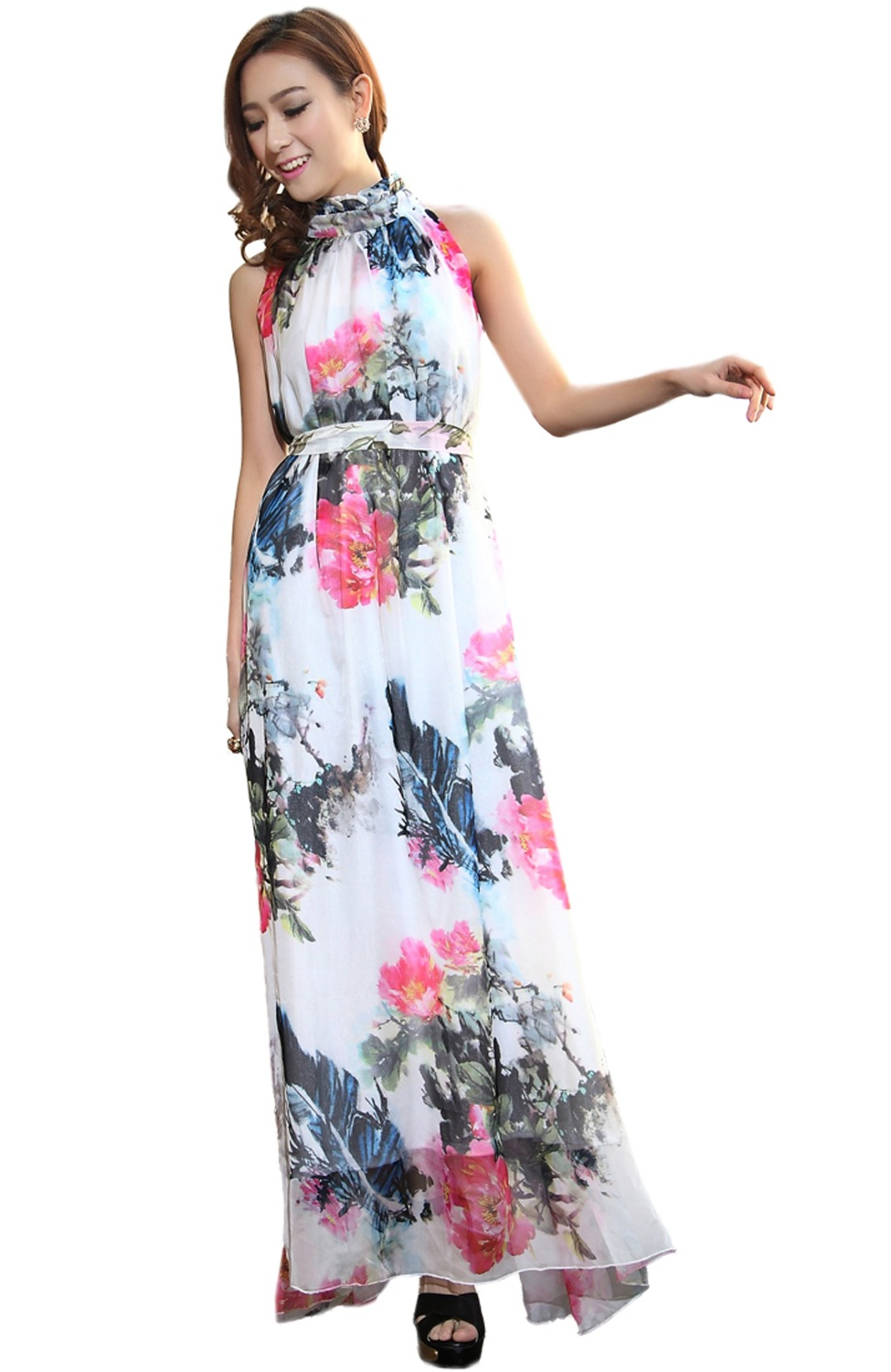 Women 39 s summer floral printed chiffon short maxi dress for Print maxi dress for wedding