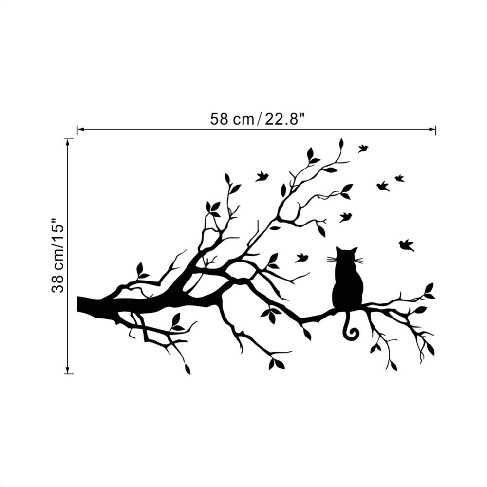 cute black cat on tree silhouette wall sticker decal dreamlike ... for Wall Sticker Tree Silhouette  183qdu