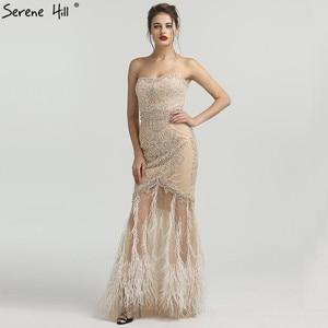 Image 3 - זהב סטרפלס סקסי בת ים נוצות שמלת ערב יהלומים ואגלי טול אופנה שמלות ערב 2020 Serene היל LA6588