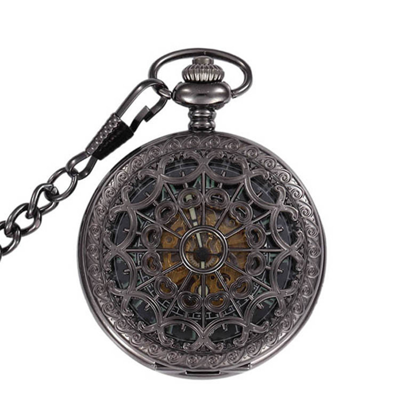 Luminous Skeleton Black Hollow Automatic Mechanical Pocket Watch Men Vintage Hand Wind Clock Necklace Pocket & Fob Watches Gifts vintage transparent skeleton open face mechanical pocket watch men women fashion silver hand wind watch chain pendant gift
