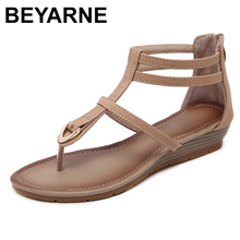 BEYARNESummer new women fashion sandals sweet slope with comfortable Roman gladiator sandals woman shoes size 35 42E609
