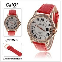 Nice CaiQi Lady's Wrist Watch with Roman Numerals Indicate Time Quartz Dial Red Leather Band