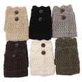 2015 Hot Sale Women Winter Leg Warmers Acrylon Wool Crochet Hollow Knit Boot Socks Toppers Cuffs 75E2