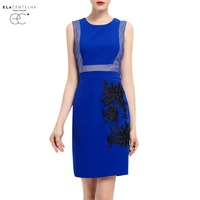 ElaCentelha Women Dress Vintage Embroidered Slim Casual Work Special Occasion Party Pencil Dresses Summer Lady Sleeveless