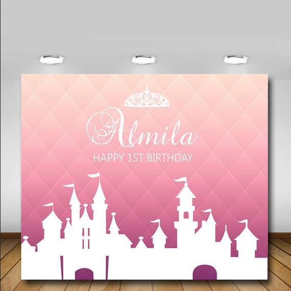 Custom Pink White Princess Crown Castle 1st Baby Shower Backgrounds