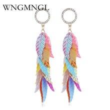 WNGMNGL 2018 New Leaf Tassel Earrings for Women Plant Sequins Big Statement Long Drop Dangle Party Jewelry