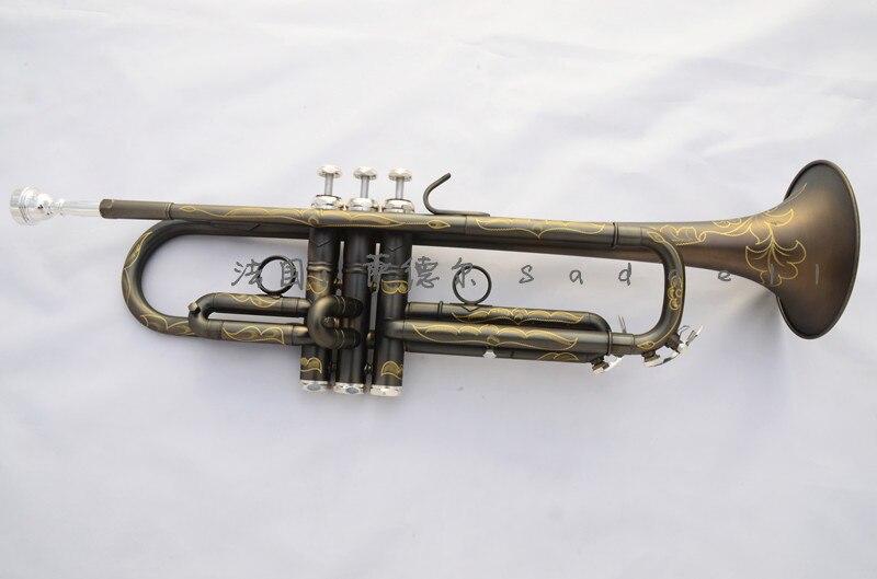 S a d d e I noir Nickel or Bb trompette mat trois air laiton cloche professionnel Trumpete Instruments
