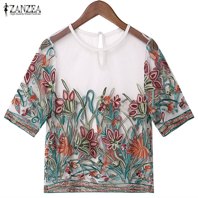 Oversized 2019 Summer ZANZEA Women Tops Vintage Sexy Mesh Embroidery Floral   Blouses     Shirts   Casual Loose Short Sleeve Blusas