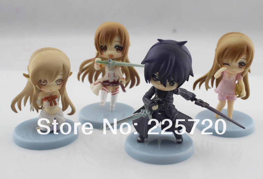 6cm Sword Art Online action figure set SAO Kirito Asuna Niitengo ver Pvc Cute Toys 4pcs/set