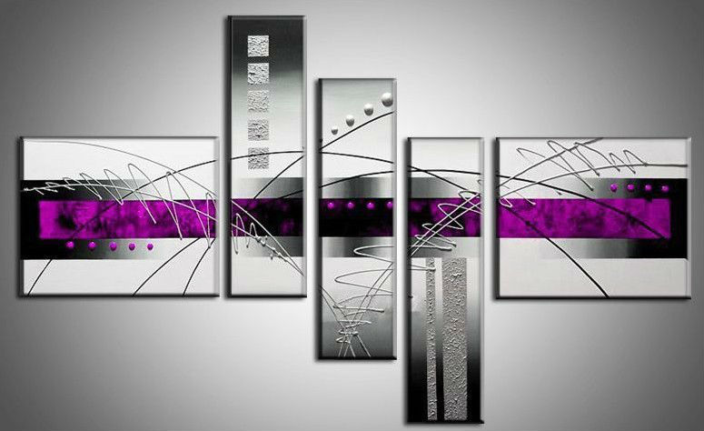 handpainted 5 piece black white purple modern abstract oil paintings canvas wall art pictures living room home decoration - YES painting store