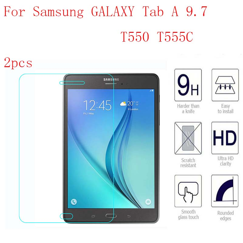 Ultra Thin Tablet Tempered Glass For Samsung GALAXY Tab A 9.7 T550 T555C Screen Protector Film 2pcs in 1 package