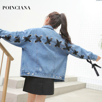 Blue Denim Jacket Lace Up Lattice Eyelets Back Classic Autumn Turn Down Collar Single Breasted Casual