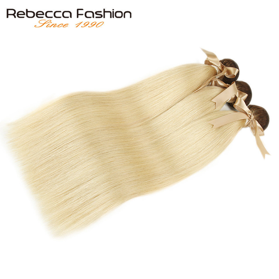 Rebecca Ombre Blonde Bundles Brazilian Straight Remy Human Hair Brown Roots 1/3/4 T4/613 Honey Blonde Bundles 10 to 26 Inches