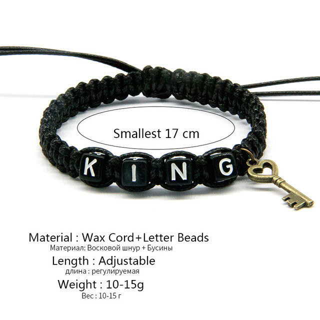 2pcs/pair Couple Bracelets Black King And White Queen With Key Lock Rope Chains Lovers Gift Handmade Charm Bracelets Accessories 2