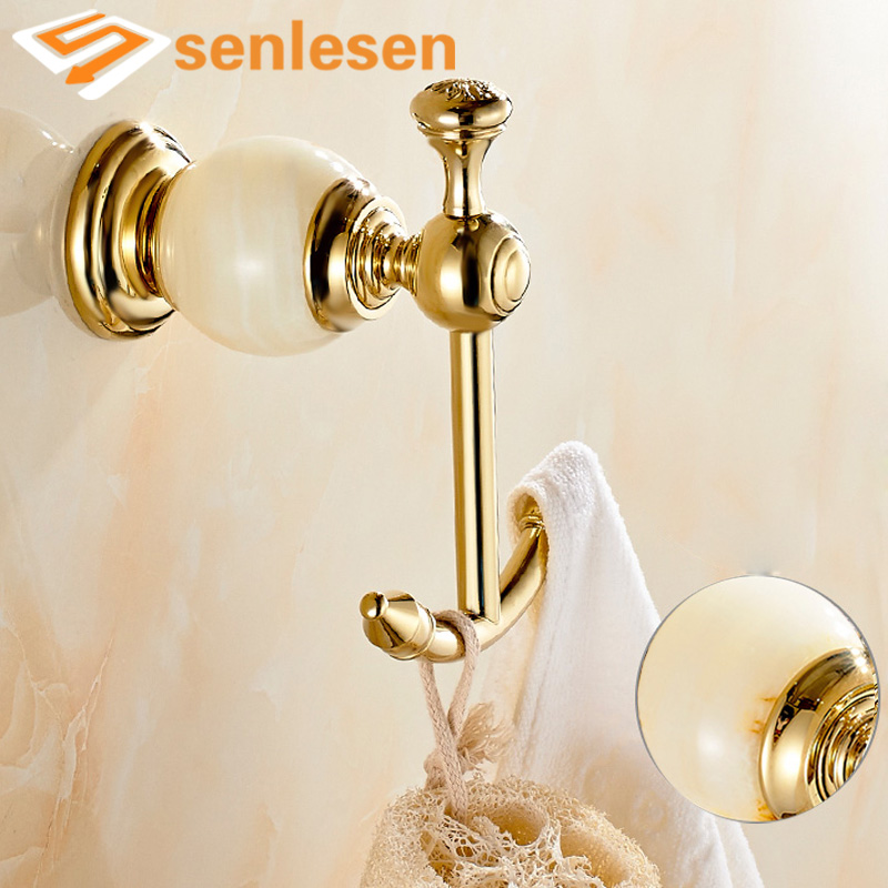 Free Shipping Wholesale And Retail Marble Style Hangers Gold Brass Bathroom Hooks Dual Robe Hangers Towel Pegs creative home kits white cloud style magnet magnetic key hooks hangers holder
