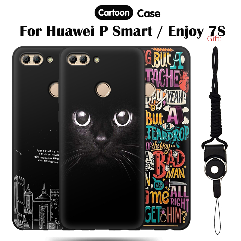JURCHEN Cover For Huawei P Smart Case Funda Enjoy 7S Silicone Soft Tpu For Case Huawei P Smart Capa Coque Cat Cartoon Cute ...