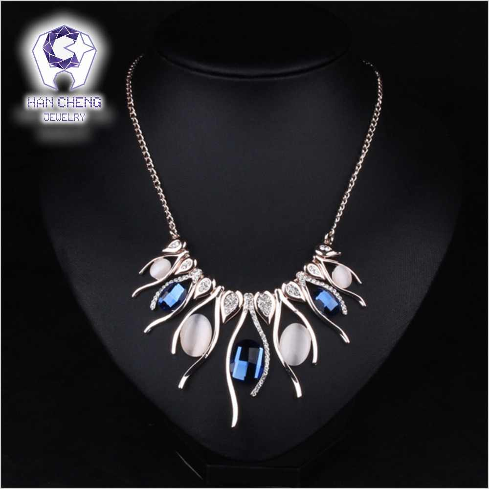 Fashion Luxury Cutting Created Crystal Oval Rhinestone Alloy Golden Metal Statement Maxi Choker Necklace Women Jewelry collier