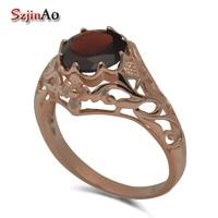 Szjiano Fine elegant temperament women jewelry rose gold pomegranate stone 925 silver series luxury engagement rings