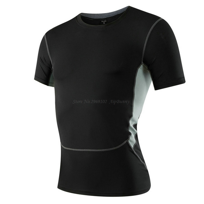 Mens Cool Dry Compression Short Sleeves T-Shirt Big Boy Slim Fit Body Built Superelastic Crossfit Tops for Sport GYM Athletic