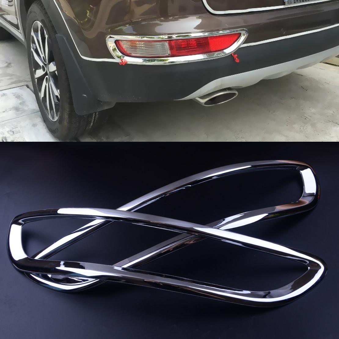 CITALL 2pcs Silver Chrome Rear Reflector Fog Light font b Lamp b font Cover Trim Fit