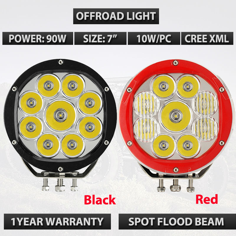 90W 7 inch High Intensity 10W LED Driving Light Lights 4x4 4WD offroad discount 50% 10 30v dc 14x10w led off road lights 14pcs 10w high intensity cree leds 140w led work light