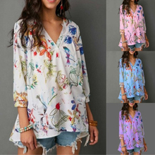Casual Plus Size Blouse Women Floral Print Shirt Summer V-neck Blouses