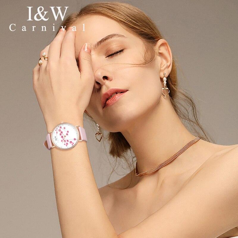 Carnaval IW véritable mode à la mode montre pour femme Simple en cuir montre à Quartz montre pour femme mince étudiant collège littéraire montre - 3