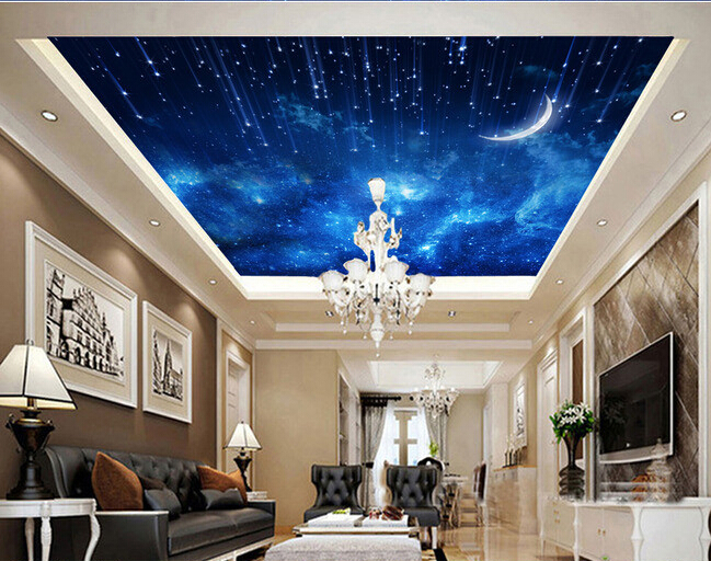 Custom ceiling wall paper, the moon star wall for the living room bedroom ceiling wall waterproof papel de parede