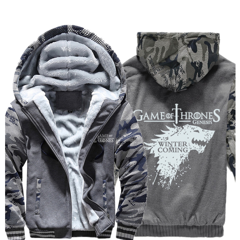 Men's Winter Thick Jacket House of Stark Direwolf Printing Hoodies Mens Coat Hooded Sweatshirt With Polyster Fur Lining
