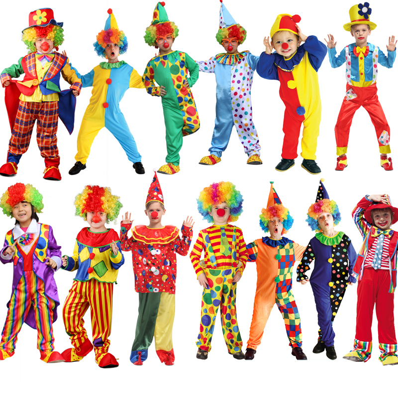 Kids Circus Halloween Clown Cosplay Costumes Naughty Harlequin Fancy Fantasia Infantil Boy Girl Carnival Party Supplies Purim