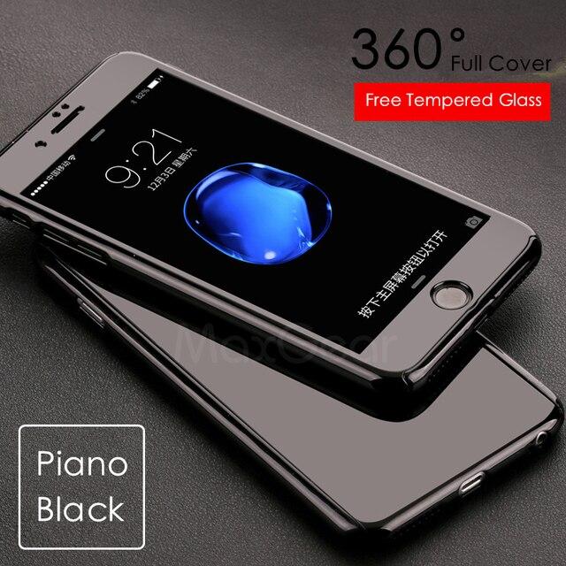 Sang trọng Đàn Piano Màu Đen 360 Độ Cứng PC Trường Hợp Đối Với Apple iPhone 5 5 S SE 6 6 S 7 Cộng Với mỏng Đầy Đủ Cơ Thể Bìa Capa + Glass Bảo Vệ Màn Hình