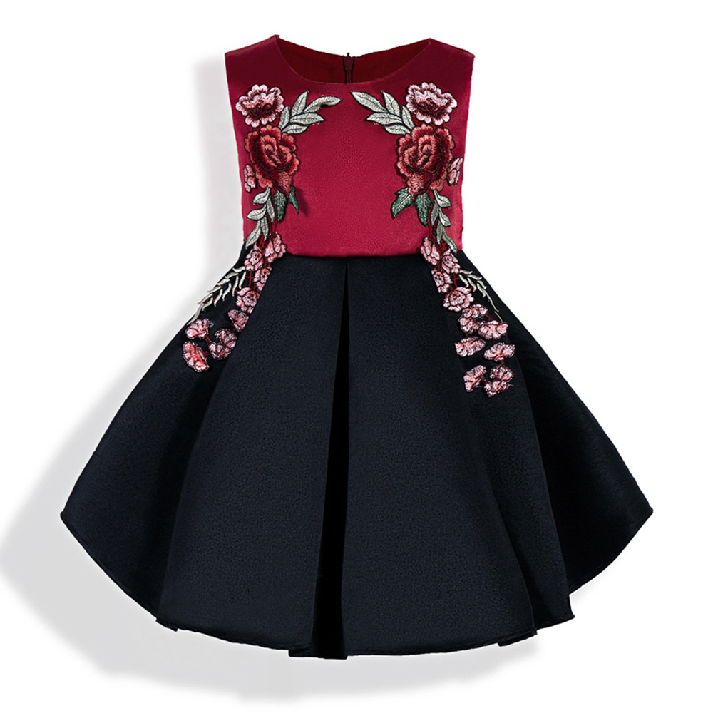 ZT1688 Spring Kids Dresses Party Dress Summer Baby Girls Floral Embroidery Knee Length Princess Dress Girls A-Line Dresses