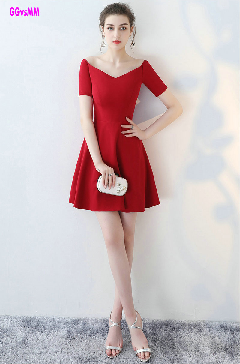 Simple Style Red   Cocktail     Dresses   2018 Sexy V-Neck Satin Short-Sleeve Knee-Lingth Prom   Dress   Short Formal   Cocktail   Party Gowns