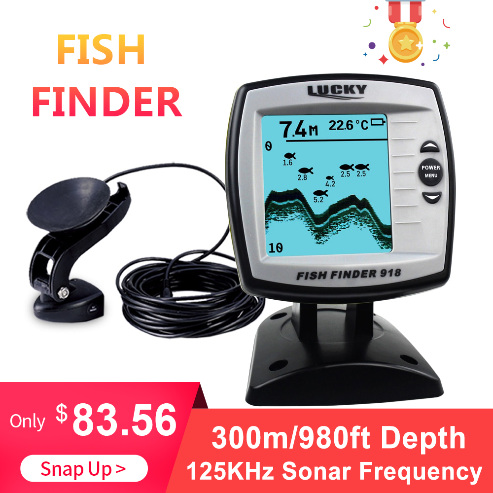 Chanceux 125 KHz Sonar fréquence détecteur de pêche 300 m/980ft profondeur détecteur de poisson écho sondeurs bateau détecteur de poisson sondeurs FF918-WLS