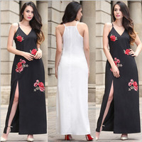 2017 summer dress new women's clothing Europe and American sexy embroidery strap V-neck dress open fork dress burst wholesale
